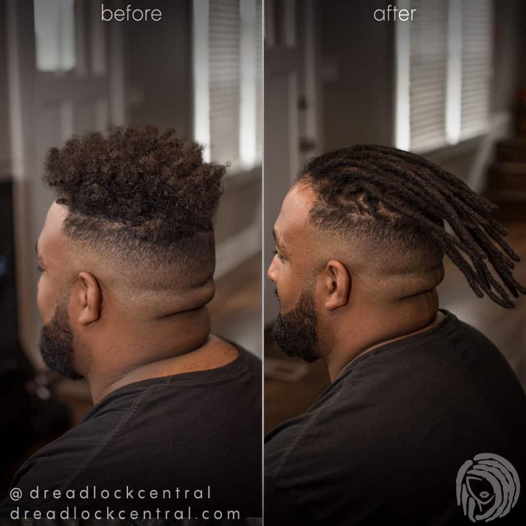 Before and after Human Hair Dreadlock Extensions for our client in Washington DC
