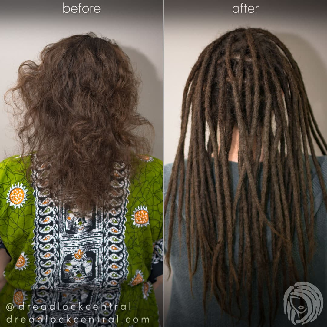 Dreadlock Extension Before and After for Caucasian Hair