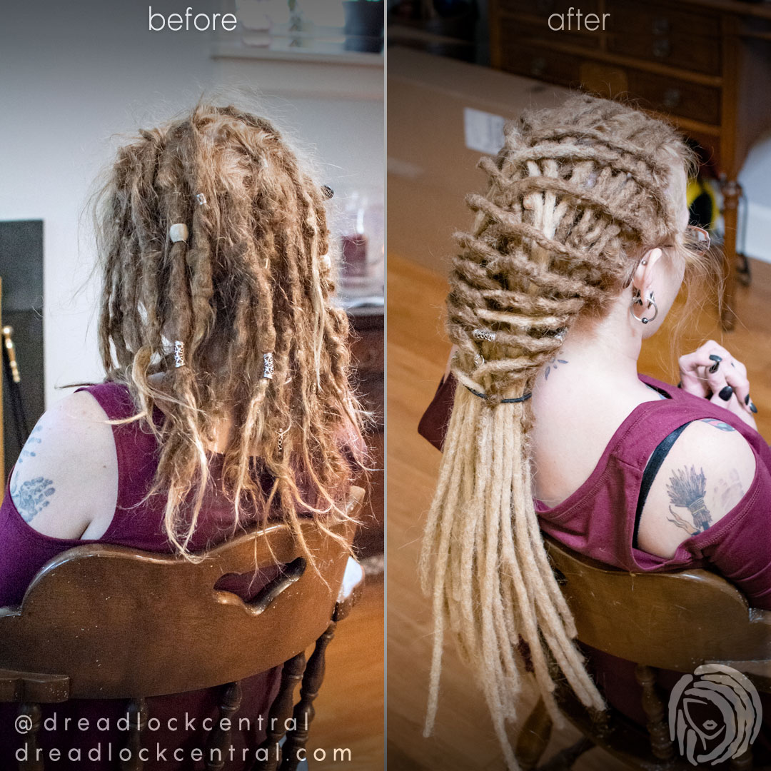 We braided Lisa's Dreadlocks after her root maintenance and extension installation