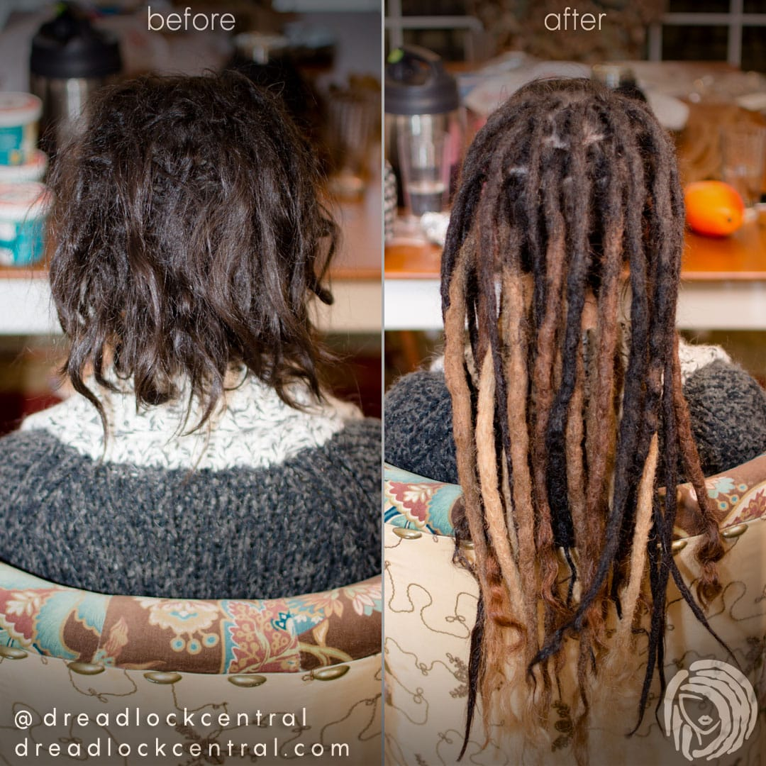 We split this client's dreadlock into two strong and well defined dreadlocks to save him from having only one dreadlock that is too thick for his preference