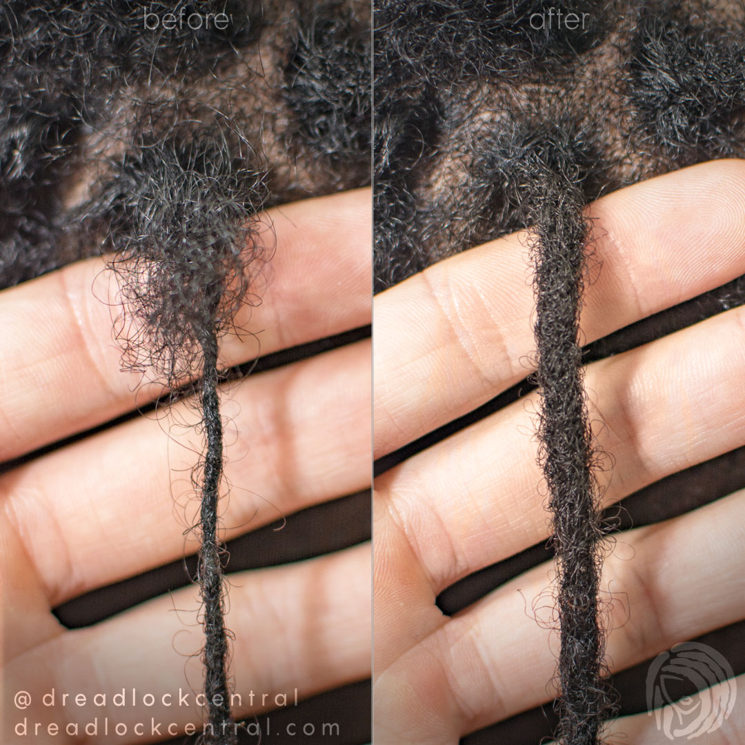 Skinny Dreadlock Thickening Repair Before and After