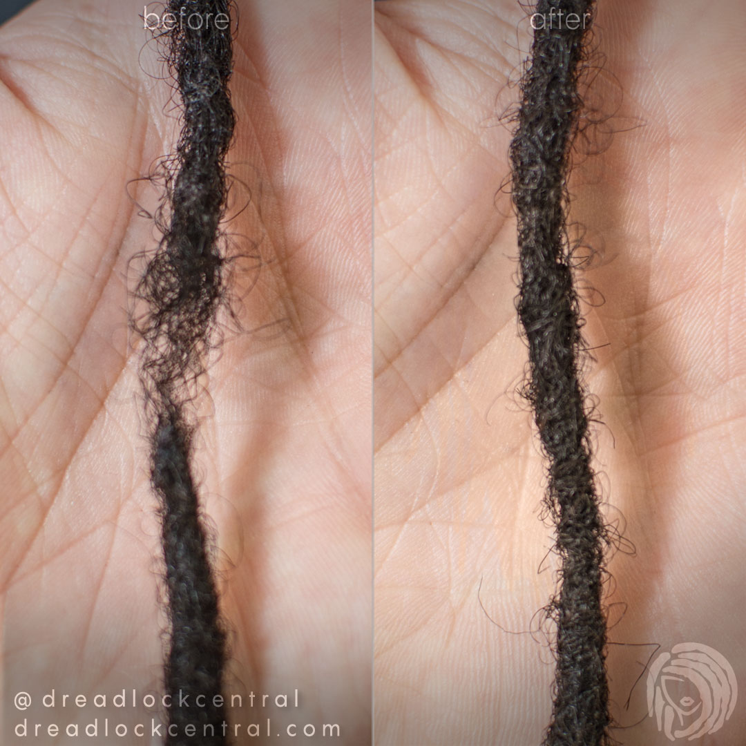 Weak Dreadlock Repair Before and After