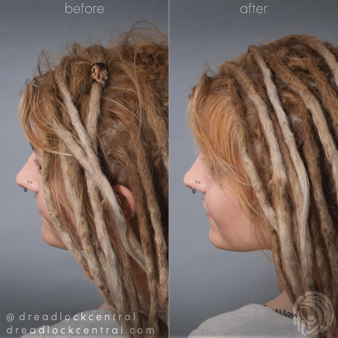 Dreadlock Root Maintenance Before and After